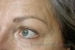 Wenkbrauwen + eyeliners voor de controlebehandeling,sommige plekjes moeten nog iets intensiever gemaakt worden.